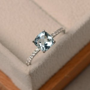 Wish's latest collection is set with London's Blue Topaz diamond Ring S925 silver European and American luxury baubles