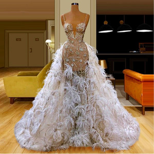 Feathers See Through Overskirt Evening Dresses Spaghetti Straps Beads Sequins Illusion Mermaid Prom Dress Celebrity Party Gowns