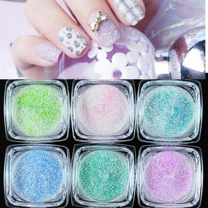 6Pcs (in one set) Diamond Dust Glitter Nail Art The Sugar for face, body and nail Iridescent White +Colorful Glitter Powder