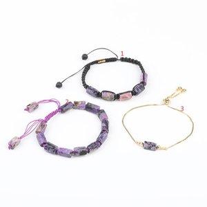 10Pcs Lot Natural Purple Charoite Stone Chip Beads Cord Knot Adjustable Bracelet Wholesales Women Gold Chains Tennis Bracelet Y1119