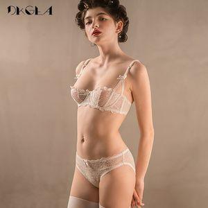 Ultrathin Underwear Set Plus Size 34 36 38 E Cup Sexy Bras Lingerie Lace Women Transparent Bra Set Pink Brassiere Half Cup WhiteX1122