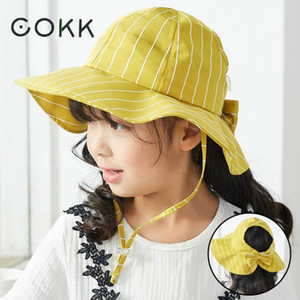 Cokk Kids Hat Summer Hats For Children Girls Fisherman Bucket Hat Sweet Bow Korean Striped Sun Hat Foldable Cotton Beach Swy sqcTXx