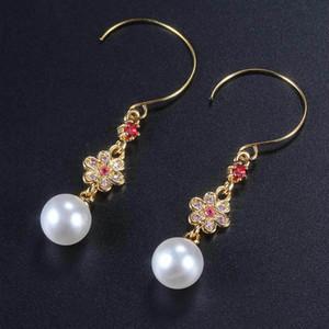 Fashion Women Freshwater Pearl Winding Earrings Crystal Stone Drop Dangle Hook Earrings Wedding Jewelry Party Gifts Accessories