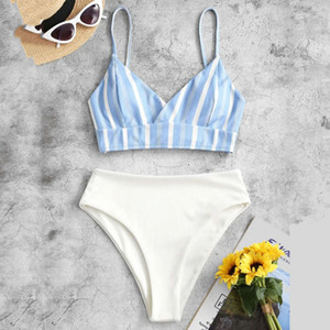 Stripe Print Women's Swimsuits Sexy Bikini Set Patchwork Swimwear Thongs Underwear Women Cloth Bathing Suit