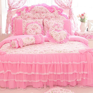 Korean style pink Lace bedspread bedding set king queen size 4pcs Rose Print princess duvet cover bed skirts bedclothes cotton home textile