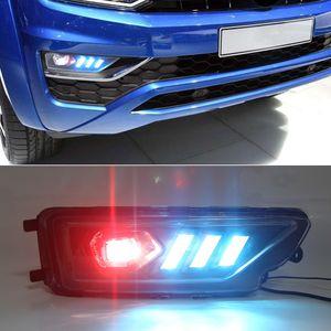 1 Takım DRL Gündüz Işık VW Amarok 2016 için 2017 2018 2019 Ön Tampon Işık LED Sis farları ile dönüş sinyali