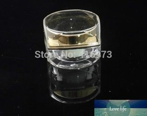 100pcs lot High-end acrylic 5g empty cream jar gold color cosmetic sample sack packing 5ml