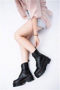 Heiße Verkauf-dicke Ferse Frauen Martin Stiefel Knöchelschuhe Echtes Lederstiefel Kuh Muskeln Sohle Schnürung up Chunky Heel Boot für Damen
