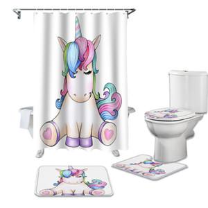 Dessin animé Licorne Mignon Douche Rideau Toilette Set de siège de toilette Ensemble de WC Accessoires Tapis de salle de bains Décor Rideaux de bain Z1127