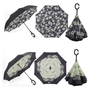 Double Layer Inverted Self Stand Out Rain Gear C-Type Handle Semi-automatic Windproof Reverse Folding Umbrella
