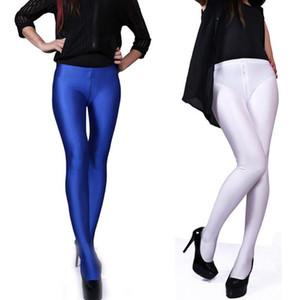 Plus Size Zipper Open Crotch Pants Women Glossy Fantasy Exotic Trousers Bodycon Pantyhose Sexy Boots Pant Pantalon Femme Spodnie