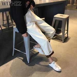 Withzz outono inverno feminino solteira elástica cintura jeans lã reta