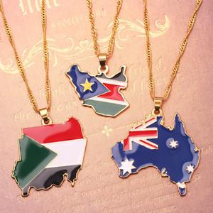 Alliages World Carte Collier Sud-Soudan Australie Alliage Pendentif Clavicule Collier Chaîne Collier Pendentif Collier HiPhop Bijoux 40cm