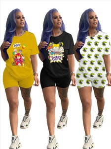 Womens Summer Fashion Casual Printed Letter O Neck Short Sleeve Top and Shorts Two Piece Sets
