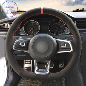 DIY-kundenspezifische Auto-Lenkrad-Abdeckung für Volkswagen VW Golf 7 GTI T-ROC Passat-Variante (R-Zeile) GTI-Hand-Nähen Schwarzes Echtes Leder