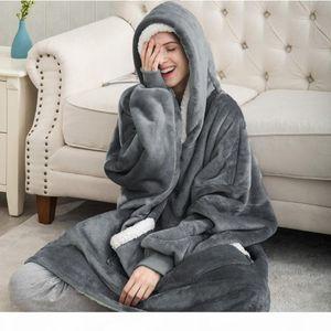 Winter Hoodie Women Long Sweatshirt Warm TV Blanket Fleece Plush Hooded Oversized Hoodie With Pocket Loose Sudaderas Para Mujer T200917