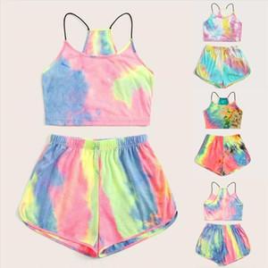2020 Women Sets Tie dye Print 2 pcs Sweatsuit Cami Vest Top Shorts Summer Pullover Suits Women outfit Two Piece Tracksuits