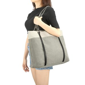 European and American trendy men and women fashion handbag canvas shoulder bag men and women canvas large capacity gray