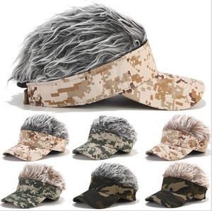 Camouflage Baseball Cap Hairpiece Street Trend Hat Women Casual Sport Golf Cap for Adjustable Sun Protection Wig Deration Hats AHC4195