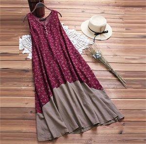V-Ausschnitt Sleepeless Mid Calf Kleider Strand Kleid Weibliche Kleidung Pocket Tiered Button Böhmisches Kleid heiß