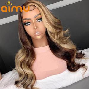 Spitze Perücken HD Unsichtbares menschliches Haar Frontal lose Curl Front Ombre Honig Blondine Highlight Vorgepackene gebleichte Knoten Glueless