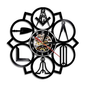 1 pieza Masonic Mason Vinyl Record Rank Clock Vintage 3D Hecho A Mano Decoración Decoración Reloj de Pared Arte LJ201208