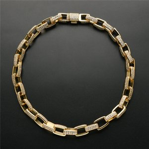 10mm 16 18 20 22 24inch Gold Plated Bling CZ Stone Box Link Chain Necklace Bracelet Jewelry