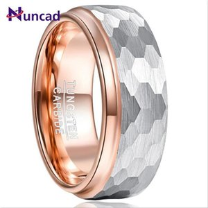 2021 New Hot 8mm Wide Tungsten Carbide Ring Side Step Rose Gold Plating Surface Hammered Tungsten Steel Ring Jewelry B1205