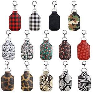 PU Leder Hand Sanitizer Halter Flasche Fallbezüge Keychain Schlüssel Ringe Schlüsselanhänger Tasche Anhänger Plaid Leopard Snake Skin Ball Spiel Print111003
