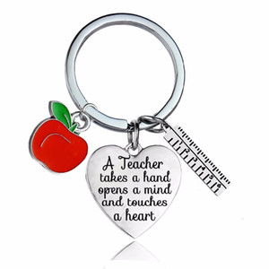 12PC Lot A Teacher Takes A Hand Opens Mind And Touches Heart Keychain Gifts Apple Ruler Charms Keyrings For Teachers Jewelry keychains women