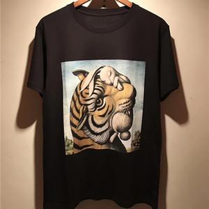 Модные мужские животные печати футболки черный белый стилист рубашки мужчины женские футболки с коротким рукавом S-XXL