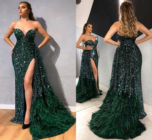 Dark Green Sequined Feathers Celebrity Evening Dresses 2021 Arabic Sweetheart Backless Side Slit Pageant Prom Gowns Occasion Dress