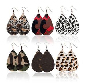 Hot Fashion PU Leder Ohrringe Teardrop Form baumeln Haken Ohrring Ohrgrop Schmuck Für Frauen Geschenk