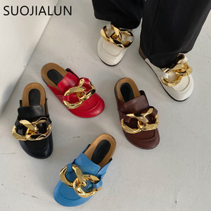 wholesale New Brand Design Gold Chain Women Slipper Closed Toe Slip On Mules Shoes Round Toe Low Heels Casual Slides Flip Flop