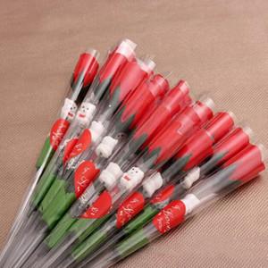Симулятор роз Цветок Одиночные красные розы мультфильм медведь с сердечно-формы наклейки в форме валентинок подарок подарок свадьба Wy1120