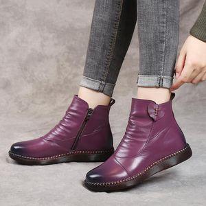 Autumn Women's Shoes Leather Boots Women's Fashion Winter Boots Flat Shoes Non-slip Warm Platform Women 2020