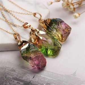 Pinksee 1PC Fashion Candy Color Natural Stone Pendant Necklace Women Charm Rainbow Chakra Rock Transparent Gold Chain Jewelry