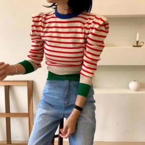 Korean Striped Color-blocked Knitted Sweaters Pullovers 2021 new spring Long Sleeve O-neck Tops Casual Fashion sexy Ladies Jumpers