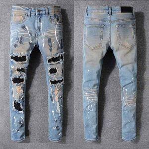 2020 Pantalones de ropa Hombres Mujeres Camisetas Pantera Estampado Ejército Verde Destruido Mens Slim Denim Straight Biker Skinny Jeans Tamaño 29-42