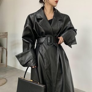 Lautaro Long oversized leather trench coat for women long sleeve lapel loose fit Fall black women plus size clothing streetwear A1112