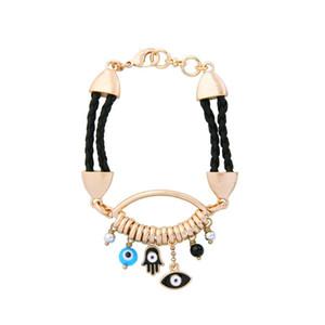 Weaved Imitation Leather Handmade Bracelet Beads Enamel Palm Eye Pendant Bracelet Female Jewelry