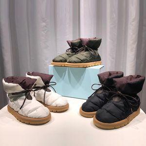 Donne cuscino piatto giù scarpe Designer Piattaforma Stivaletti Stivaletti di alta qualità Stampa invernale Falts Eiderdown Lace-up Stivale da neve con scatola 265