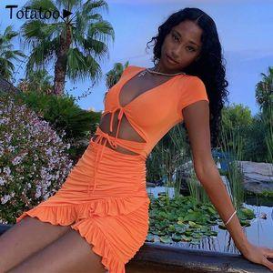 Totatoop Encaje Up Cuello en V Bodycon Mini vestido Mujeres 2020 Verano Hollow Out Ruffles Sundress Beachwear Vestidos