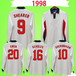 England Длинный рукав Ретро 1998 Футбол Футбол Джетки Классический Футбол Футбол Футбол 98 Высочайшее Качество S-2XL