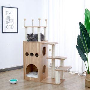 WACO CAT TREE TREE برج القط الحديث يضم مع SiSal بالكامل يغطي المشاركات الخدش، والشقق ديلوكس عش كبسولة كبيرة