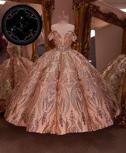 vestidos de 15 años Quinceanera Dresses lace-up corset Rose Gold Sequin Applique Sweet 16 Dress Off the Shoulder Pageant Gowns