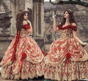 Vintage Rouge Rouge Robes De Bal Gothic 2021 Off Epaule Robe de billes Medieval Victorian Corset Corset Renaissance Robes de soirée Plus Taille