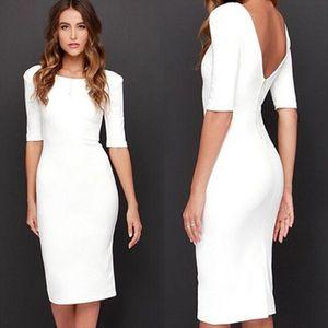 Women Sexy Club Backless Dress White Sheath 2019 Fashion Party Summer Bodycon Half Sleeve Dress Vestidos De Fiesta