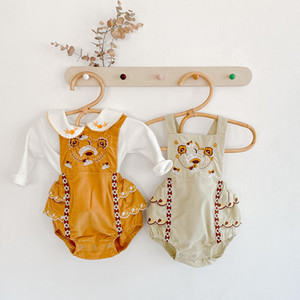 INS Baby Girls Cartoon Romper 2020 Autumn Infant Embroidered Jumpsuit Toddler White Flower Long Sleeve Bottoming T-shirt S507