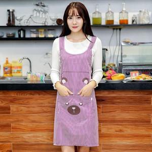 Cute Women Lady Waterproof Bib Apron Dress Restaurant Home Kitchen with Pocket Cooking Cotton Smock Apron cute Bear Bib1